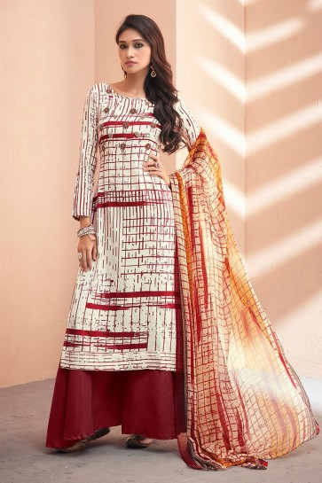 Beautiful Maroon Silk Embroidered Sharara Plazo Salwar Kameez