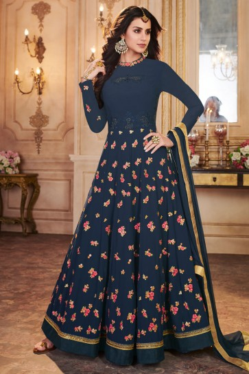 Navy Blue Georgette Designer Embroidered Anarkali Salwar Suit With Nazmin Dupatta