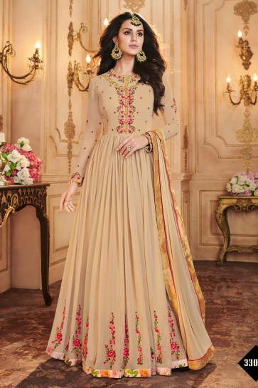 Embroidered Cream Georgette Anarkali Salwar Suit With Nazmin Dupatta