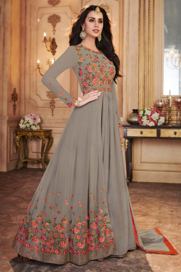 Classic Grey Georgette Embroidered Anarkali Salwar Suit With Nazmin Dupatta