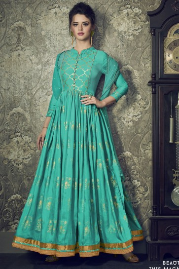 Turquoise Silk Designer Embroidered Anarkali Salwar Suit With Net Dupatta