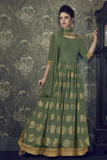 Mehendi Green Silk Embroidered Anarkali Salwar Suit With Nazmin Dupatta