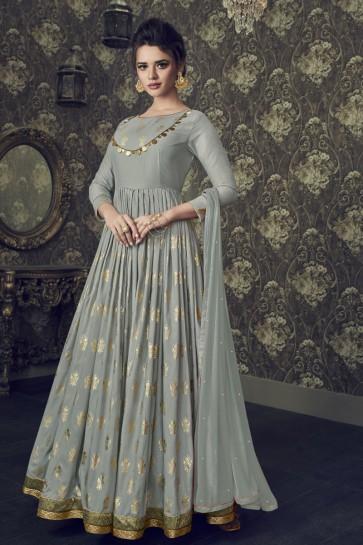 Admirable Grey Silk Embroidered Anarkali Salwar Suit With Nazmin Dupatta