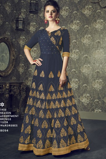Embroidered Navy Blue Silk Anarkali Salwar Suit With Nazmin Dupatta