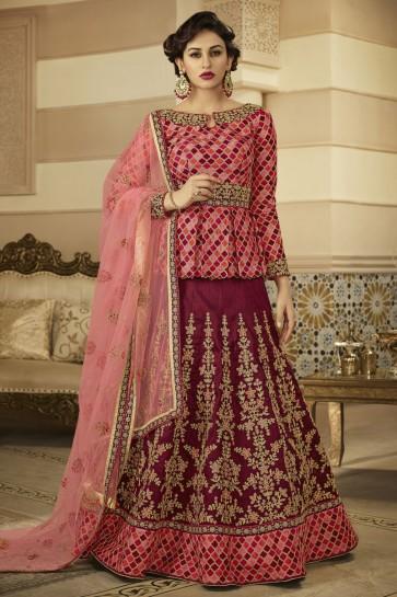 Ultimate Maroon Silk Embroidered Designer Anarkali Salwar Suit With Net Dupatta
