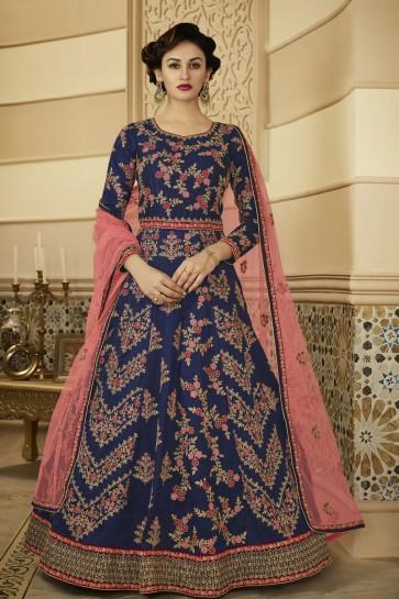 Embroidered Blue Silk Designer Anarkali Salwar Suit With Net Dupatta