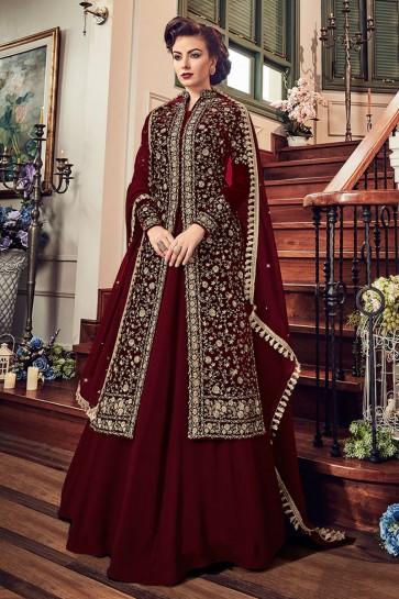 Excellent Maroon Velvet Embroidered Anarkali Salwar Suit With Chiffon Dupatta