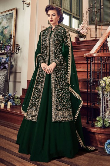 Green Velvet Embroidered Anarkali Salwar Suit With Chiffon Dupatta
