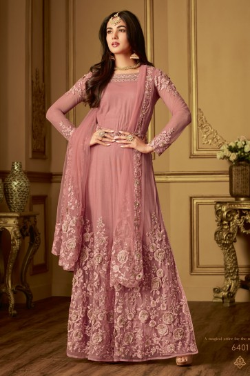 Sonal Chauhan Classic Pink Net Embroidered Designer Anarkali Salwar Suit With Net Dupatta