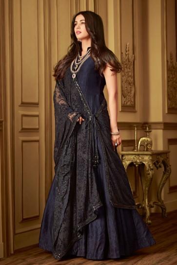 Sonal Chauhan Admirable Black Net Embroidered Designer Anarkali Salwar Suit With Net Dupatta