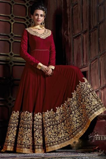 Charming Maroon Georgette Embroidered Anarkali Salwar Suit With Viscose Dupatta