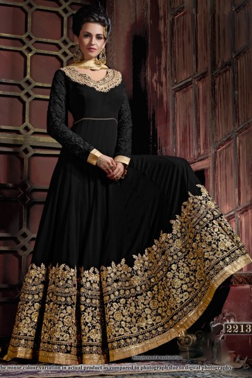 Embroidered Black Georgette Anarkali Salwar Suit With Viscose Dupatta