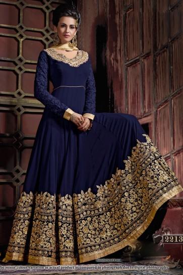 Excellent Navy Blue Georgette Embroidered Anarkali Salwar Suit With Viscose Dupatta