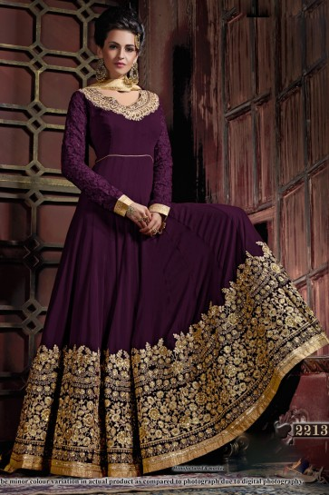 Supreme Purple Georgette Embroidered Anarkali Salwar Suit With Viscose Dupatta