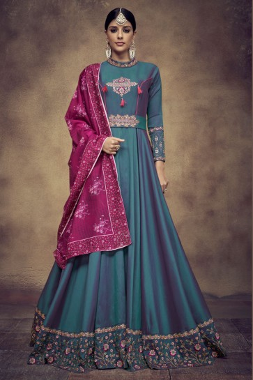 Embroidered Teal Satin and Silk Anarkali Salwar Suit With Maslin Dupatta