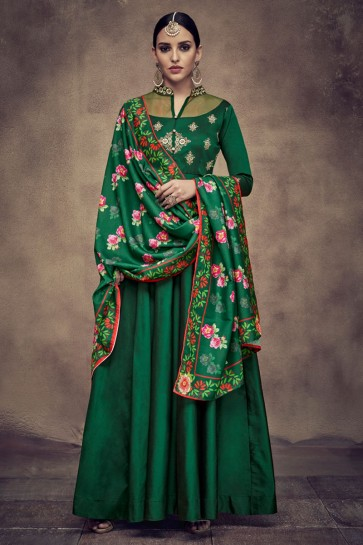 Green Satin and Silk Embroidered Anarkali Salwar Suit With Maslin Dupatta