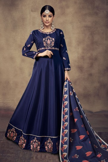 Pretty Navy Blue Satin and Silk Embroidered Anarkali Salwar Suit With Maslin Dupatta