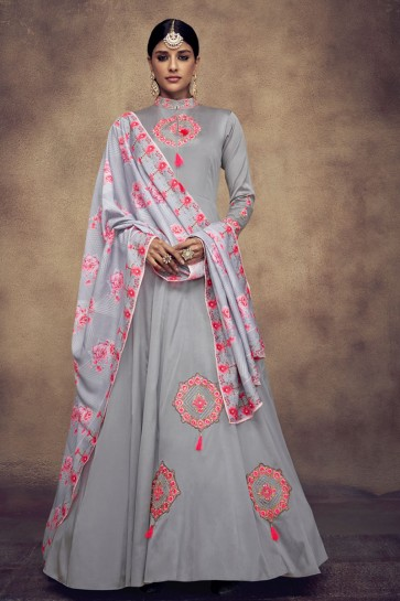 Grey Satin and Silk Embroidered Anarkali Salwar Suit With Maslin Dupatta