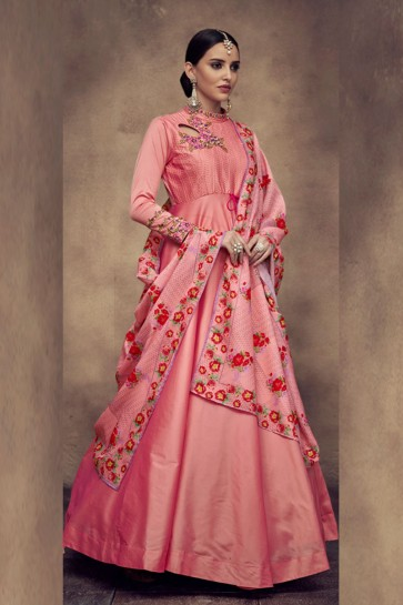 Excellent Peach Satin and Silk Embroidered Anarkali Salwar Suit With Maslin Dupatta