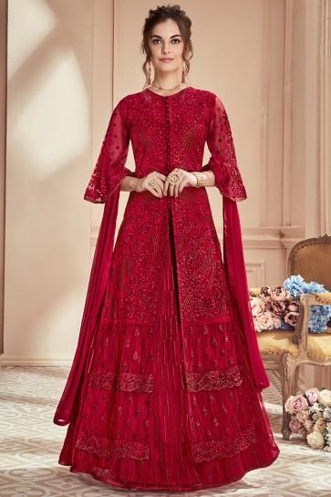 Net Fabric Red Thread Work Designer Anarkali Suit And Santoon Bottom