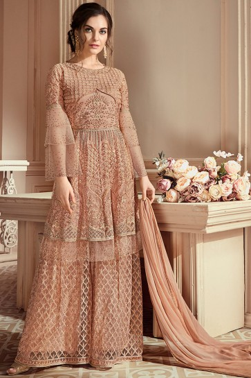 Thread Work Peach Gold Net Fabric Stylish Plazzo Suit With Nazmin Dupatta