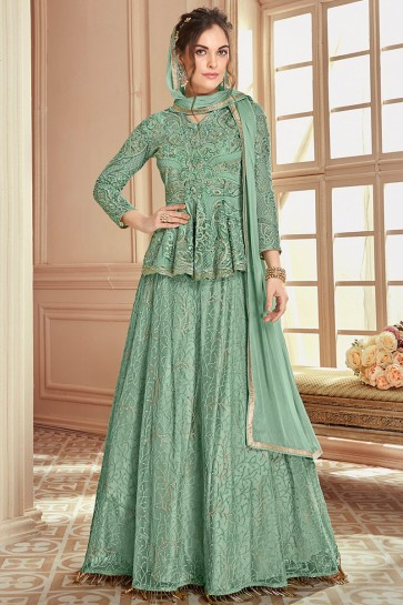 Splendid Sea Green Embroidered Designer Lehenga Suit With Nazmin Dupatta