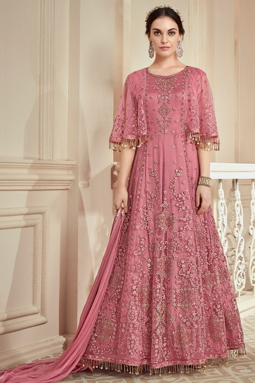 Net Fabric Pink Embroidery And Thread Work Anarkali Suit With Nazmin Chiffon Dupatta