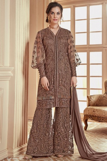 Embroidered Brown Net Fabric Designer Plazzo Suit With Chiffon Dupatta