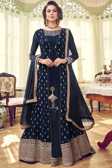 Navy Blue Diamond Work Georgette Fabric Abaya Style Anarkali Suit And Dupatta