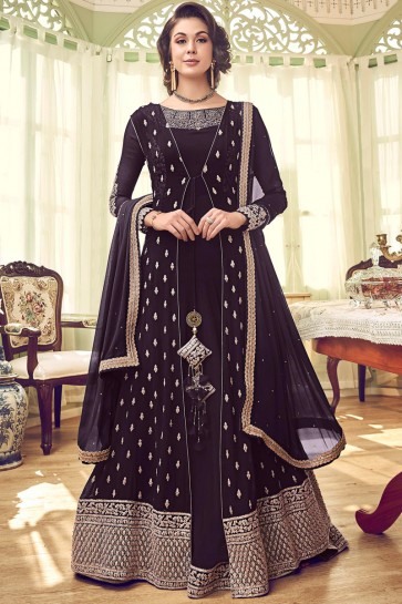 Heavy Designer Embroidered Wine Abaya Style Anarkali Suit With Georgette Dupatta
