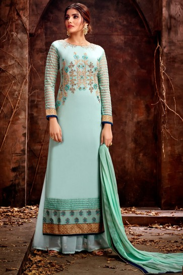 Fascinating Sky Blue Embroidered Georgette Plazzo Suit With Chiffon Dupatta