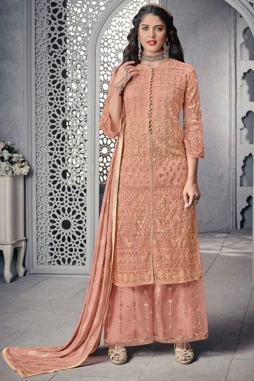 Thread Work And Embroidered Peach Stylish Plazzo Suit And Net Bottom