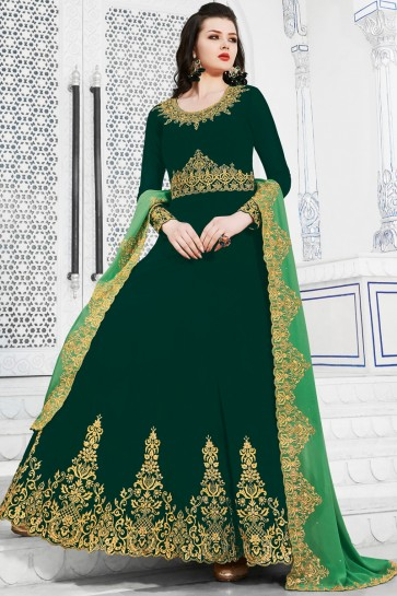 Stunning Embroidered Designer Green Georgette Salwar Suit And Dupatta