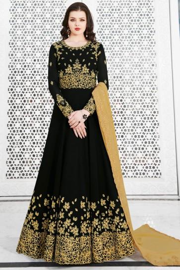 Graceful Black Embroidered Designer Salwar Suit With Georgette Dupatta