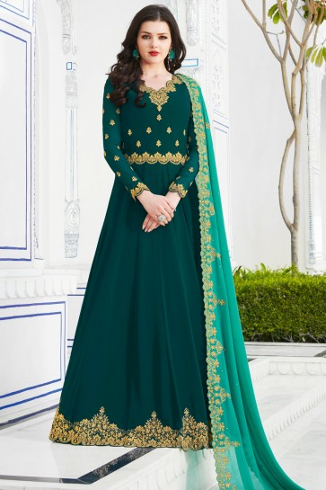Party Wear Sea Green Embroidered Georgette Salwar Kameez And Dupatta