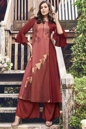 Beautiful Brown Jacquard Embroidered And Printed Plazzo Suit