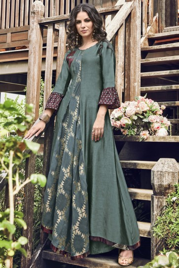 Delicate Charcoal Jacquard Printed And Embroidered Plazzo Suit
