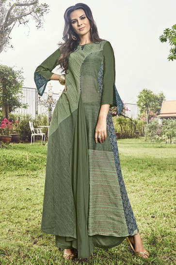 Graceful Pista Jacquard Embroidered And Printed Plazzo Suit