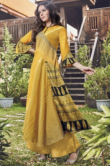 Splendid Yellow Printed And Embroidered Jacquard Plazzo Suit