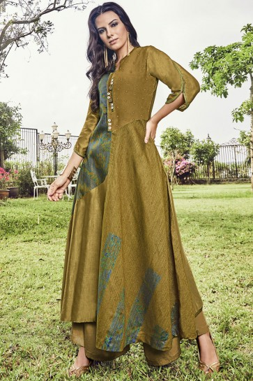 Optimum Mehendi Green Printed And Embroidered Jacquard Plazzo Suit