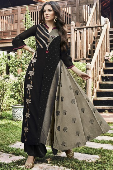Solid Jacquard Black Embroidered And Printed Plazzo Suit