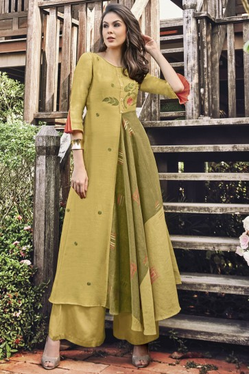 Heavy Designer Mustard Printed And Embroidered Jacquard Plazzo Suit
