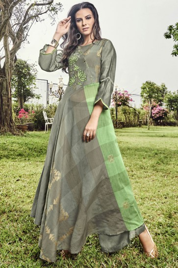 Desirable Jacquard Embroidered And Printed Grey Plazzo Suit