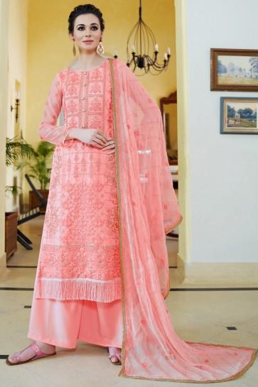 Splendid Pink Embroidered Organza Plazzo Suit With Chiffon Dupatta