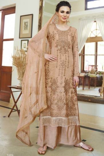 Brown Stone Work And Embroidered Superb Plazzo Suit And Santoon Bottom