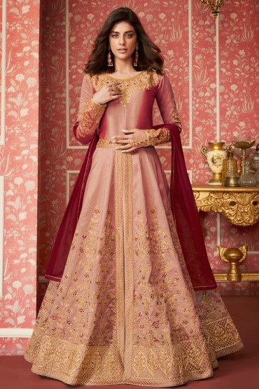 Desirable Peach Embroidered Silk Anarkali Suit With Nazmin Dupatta