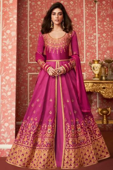 Supreme Pink Silk Embroidered Anarkali Suit With Nazmin Dupatta
