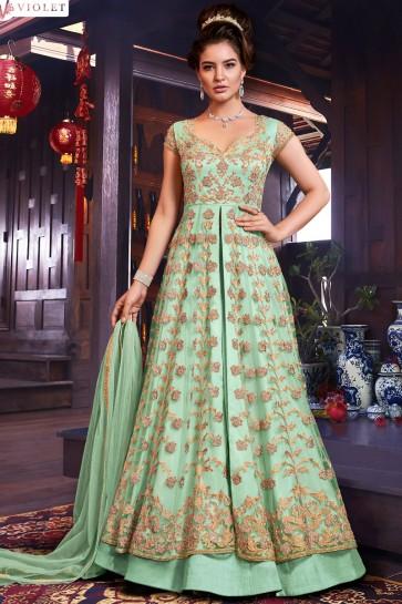 Banglori Silk Bottom Net Fabric Sea Green Abaya Style Anarkali Suit And Dupatta