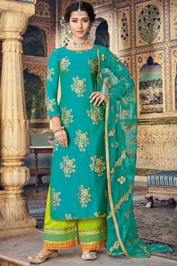 Teal Chanderi Fabric Embroidery And Printed Work Plazzo Suit With Net Dupatta