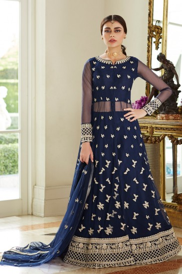 Lovely Navy Blue Embroidered Net Anarkali Suit With Net Dupatta